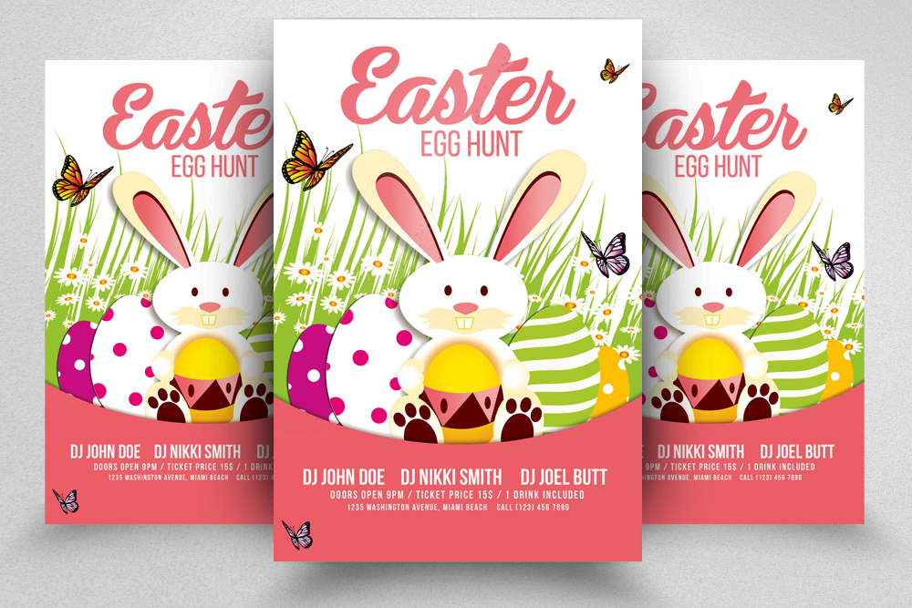 Egg Hunt Easter Flyer Print Template
