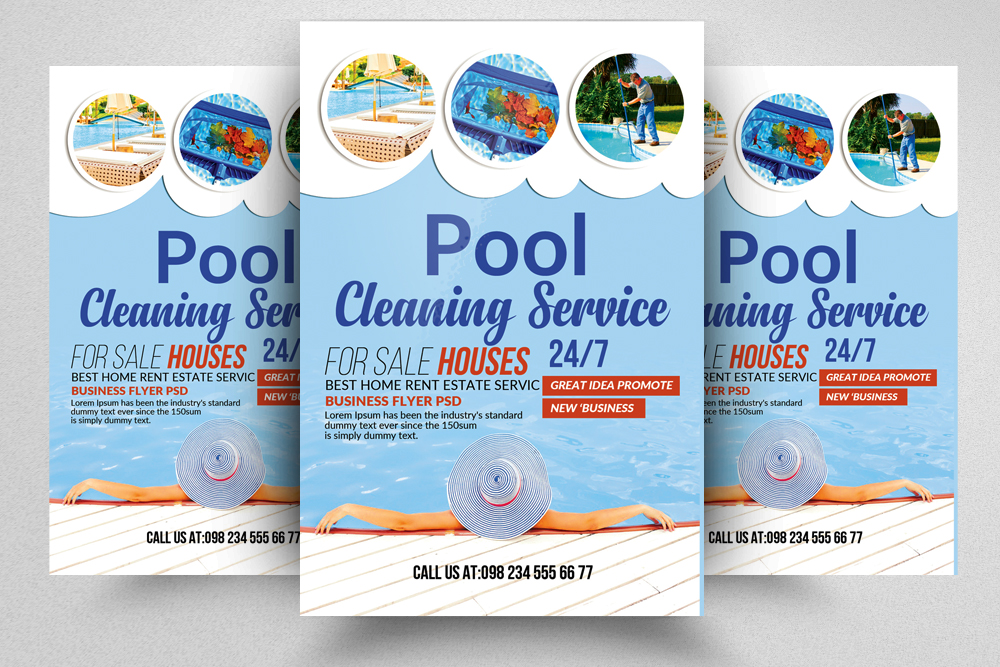 Swimming Pool Cleaning Service Flyer by Design Bundles - new business flyers