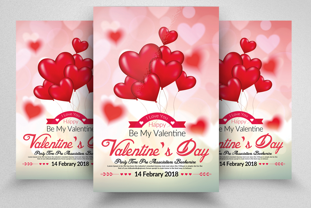 Valentines Day Flyer Template by Design Design Bundles