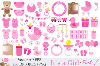 Baby Girl Clipart / Pink Baby Shower Clipart / Nursery ...