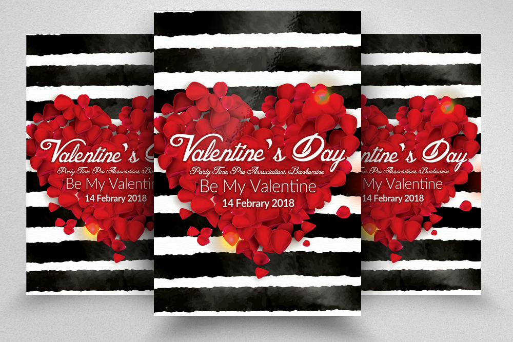 Valentine\u0027s Day Flyer Template by Desig Design Bundles