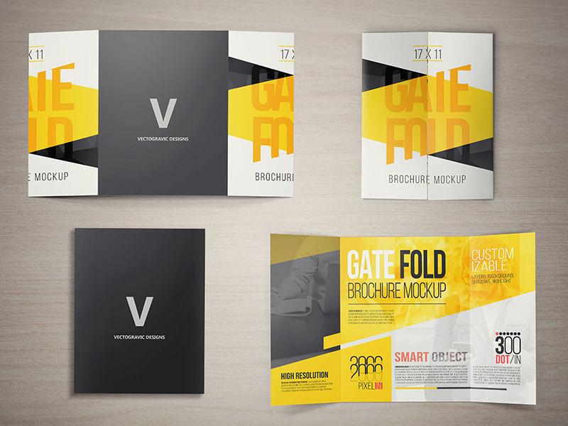 17 X 11 GATE FOLD BROCHURE MOCKUPS by V Design Bundles - gate fold brochure mockup