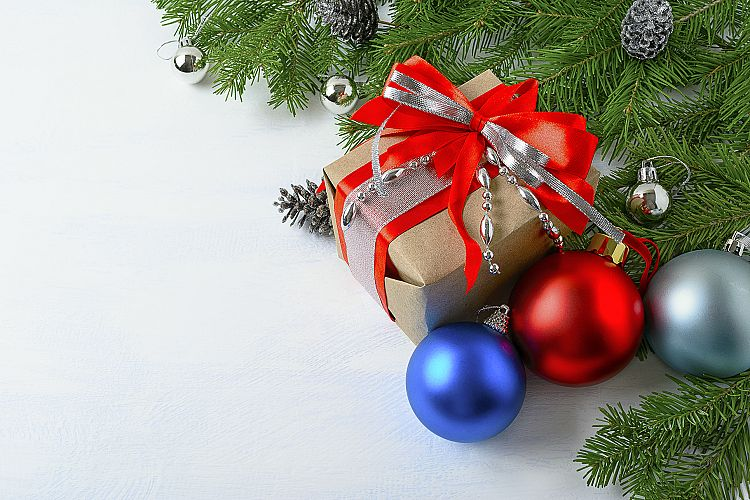 Christmas background with gift box, blue and red ornaments