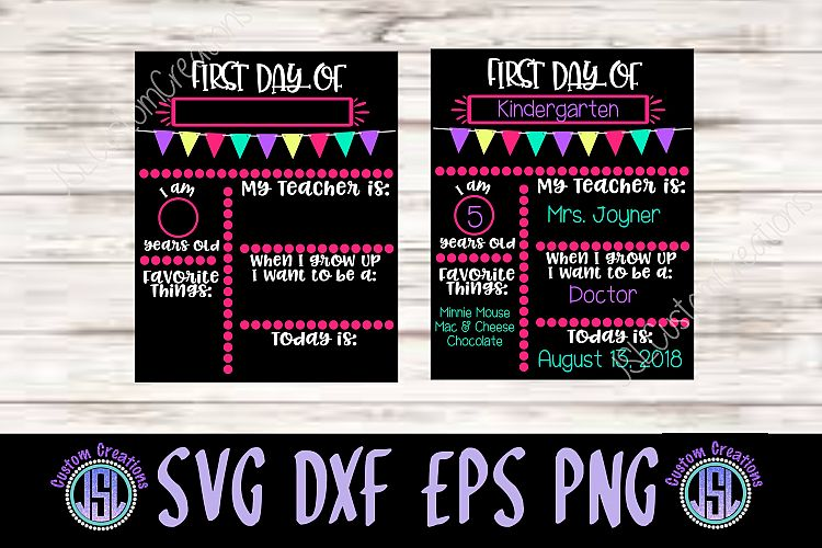 1st Day of School Sign Template SVG DXF EPS PNG Digital File