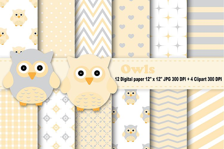 Owls Digital Paper, Yellow Owl Background, Baby Owl Pattern, Owl
