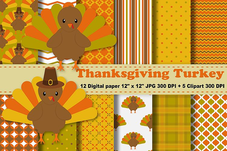 Thanksgiving Digital Paper, Thanksgiving Turkey Background, Fall