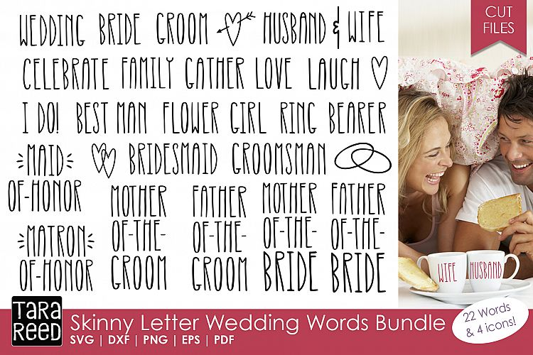 Skinny Letter Wedding Words Bundle