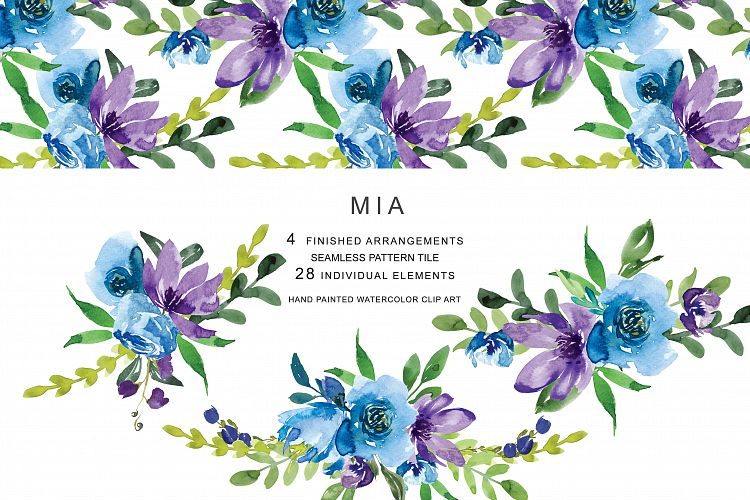 Hand Painted Watercolor Purple Blue Flowers Clipart