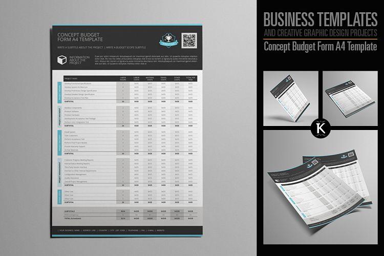 Concept Budget Form A4 Template by Kebo Design Bundles