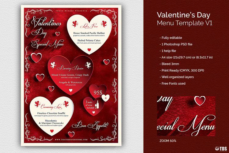 Valentines Day Menu Template V1