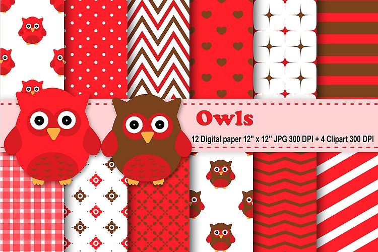 Owls Digital Paper, Red Owl Background, Baby Owl Pattern, Owl
