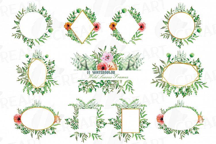 Watercolor floral wild leaves frames, printable borders