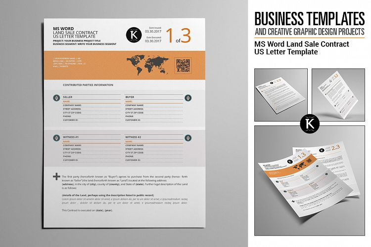 MS Word Land Sale Contract US Letter Te Design Bundles - ms word for sale