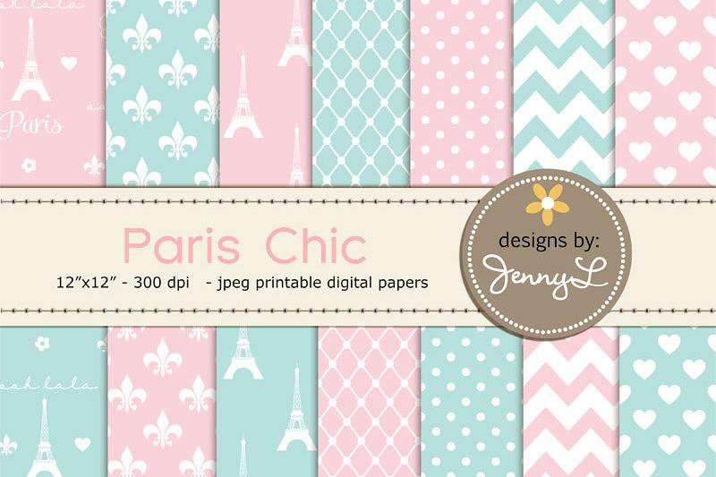 Paris Chic Digital Paper, Eiffel Tower Printable Digital Background