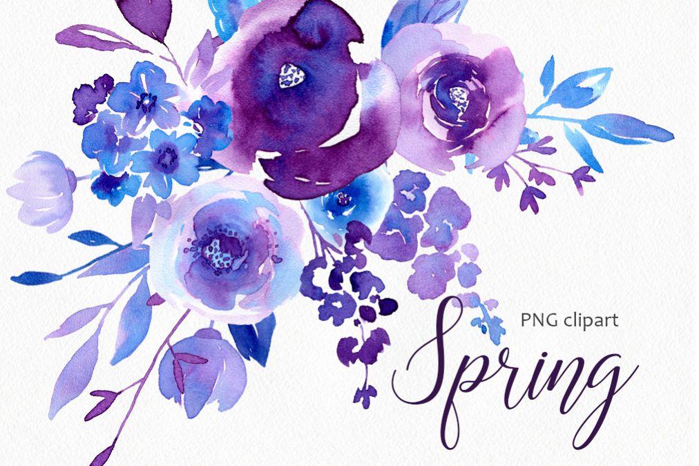 Spring Ultraviolet  Blue Flowers Collection