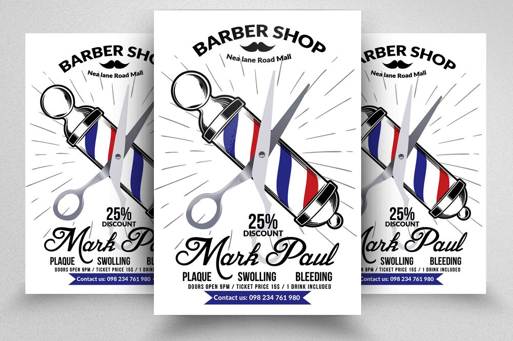 New Barber Shop Psd Flyer Templates by Design Bundles