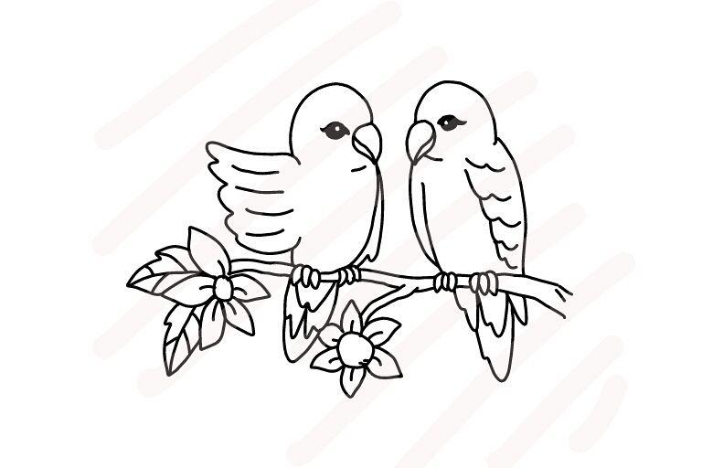 Love Birds Line Drawing - SVG/JPG/PNG H Design Bundles - line drawing