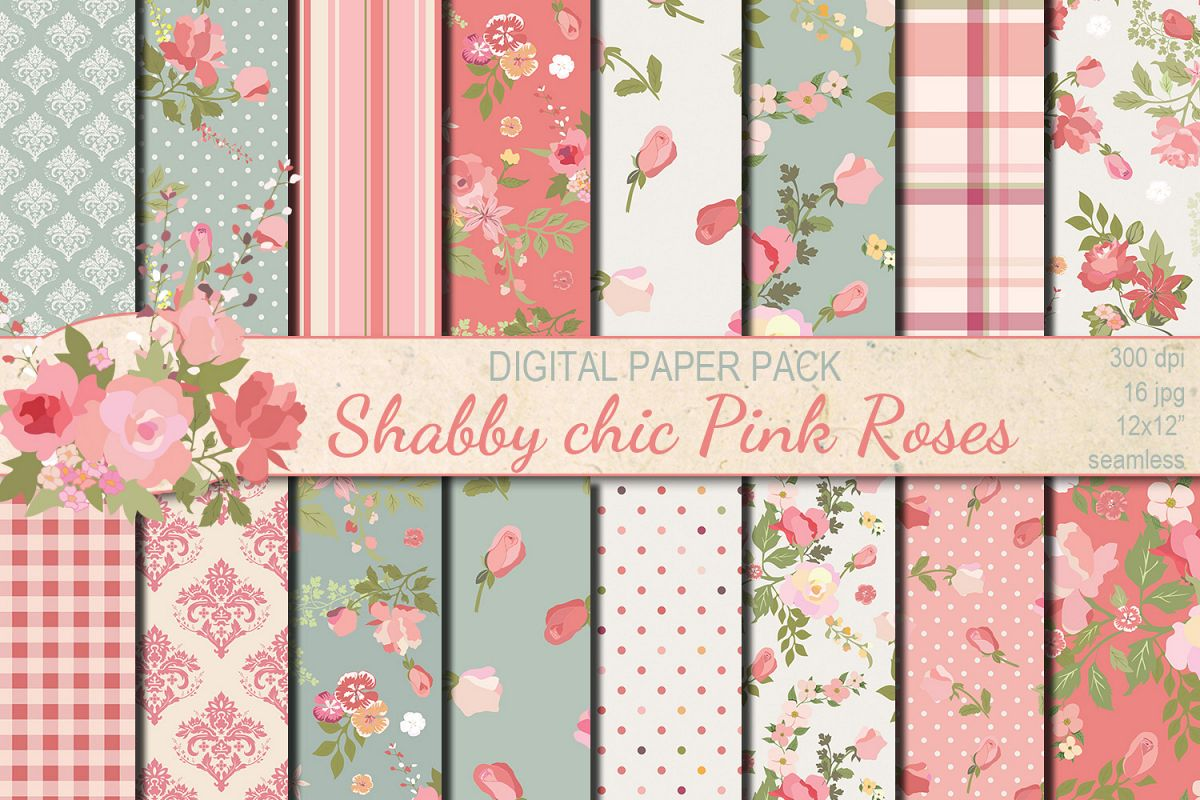 Shabby Chic Shabby Chic Pink Roses Seamless Digital Paper Pack