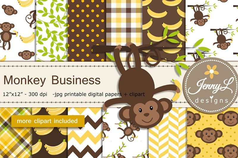 Monkey Digital papers and Monkey Clipart