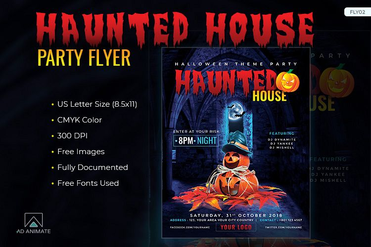 Haunted House Party Flyer template for Halloween