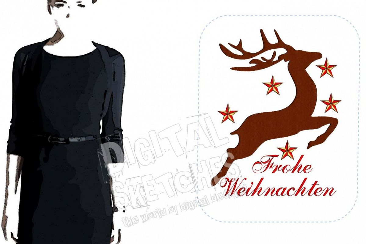 Design Weihnachten Deer Machine Embroidery Design Christmas Frohe Weihnachten