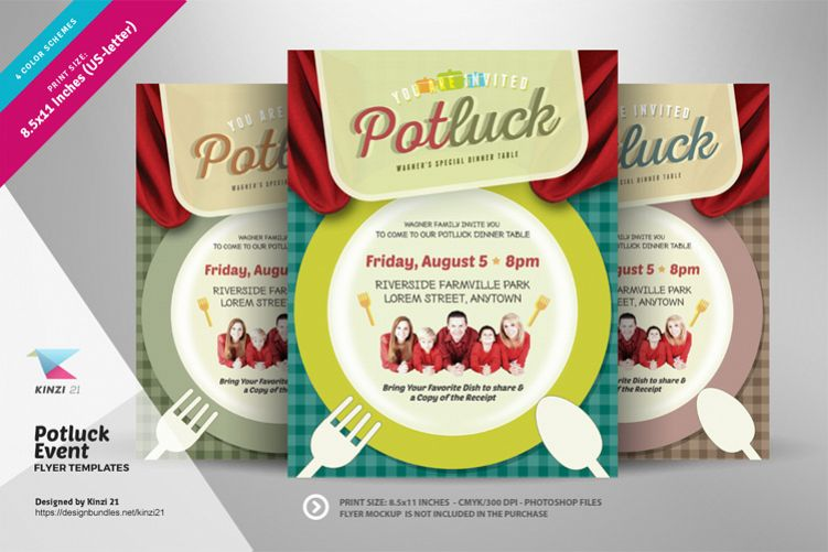 Potluck Event Flyer Templates