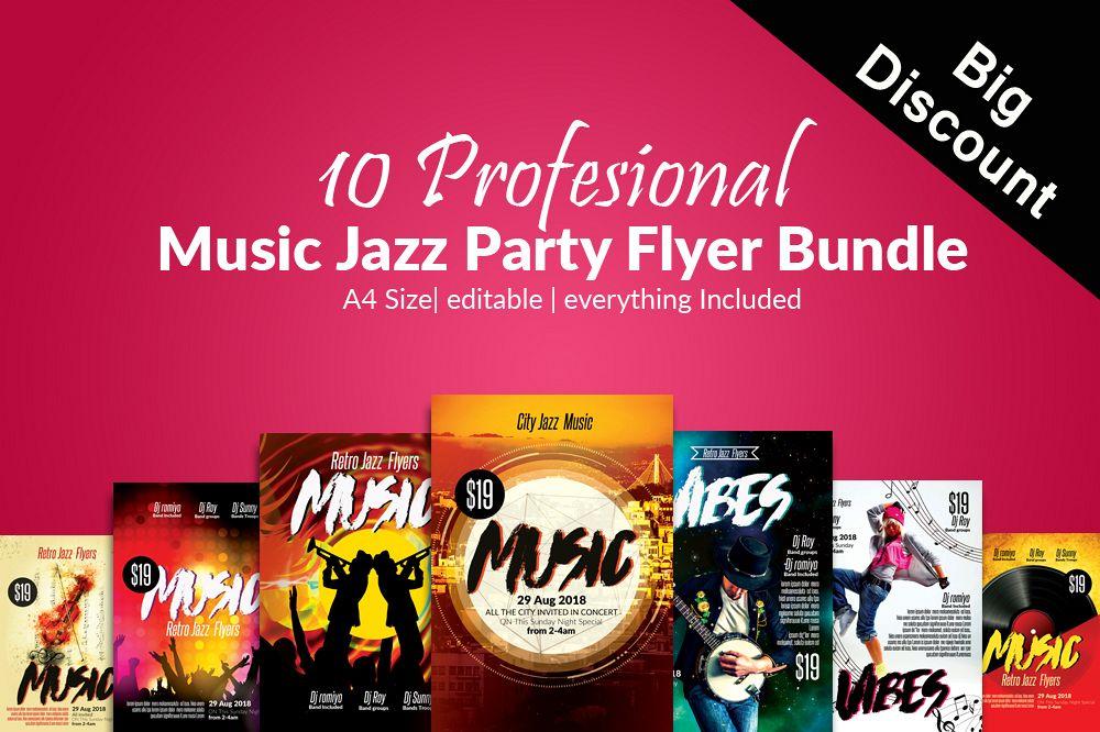 10 Music Dance  Concert Flyer Template Bundle