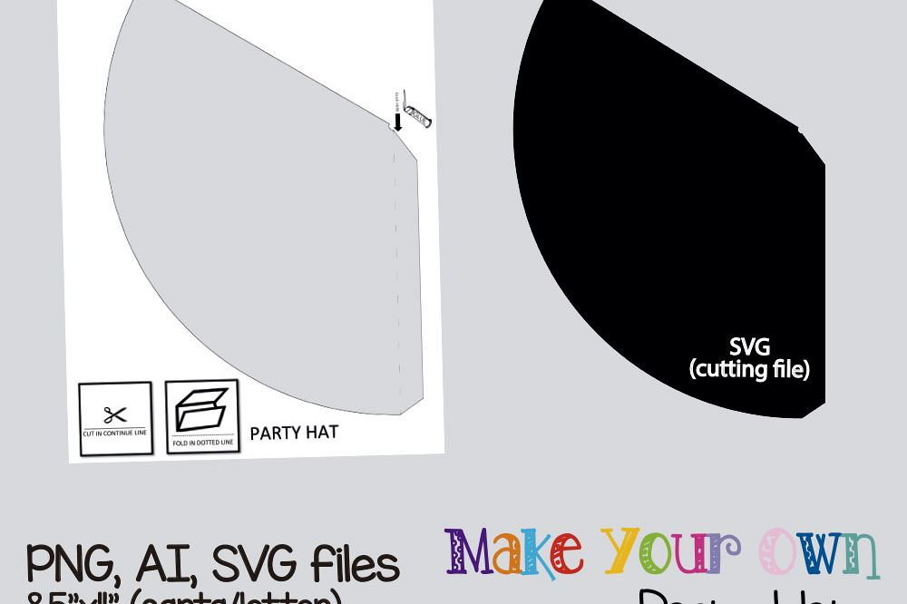 Party hat template, collage sheet template, digital template