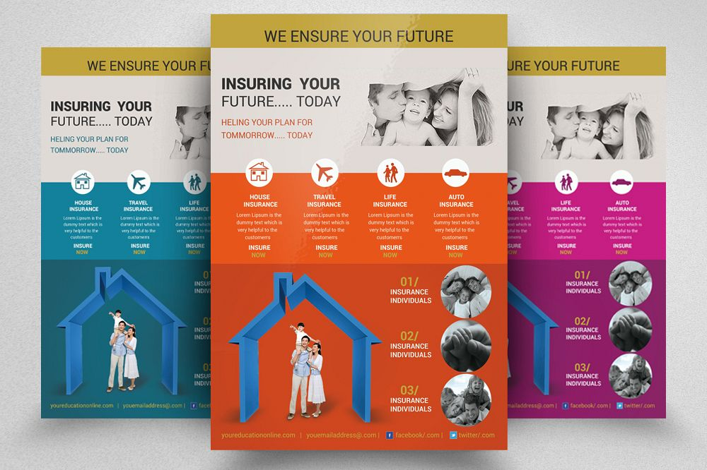 Insurance Company Advertisement Flyer Template