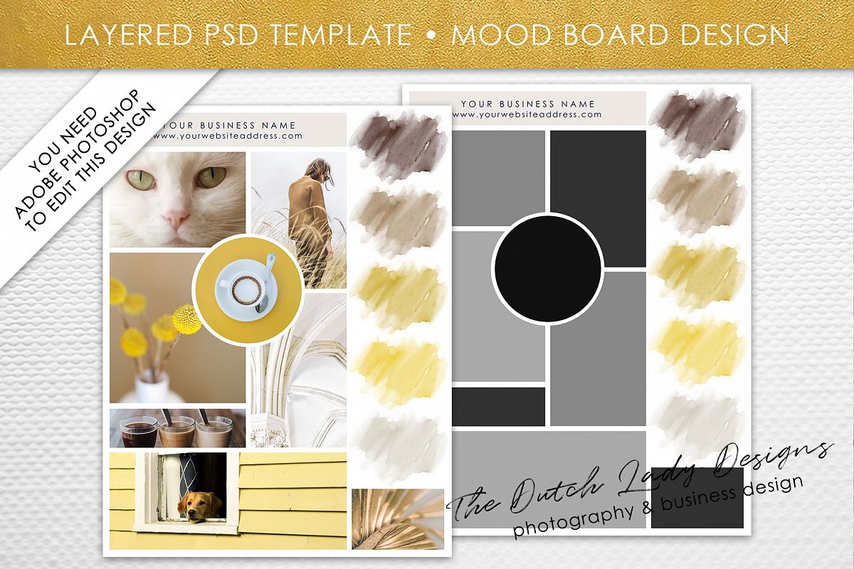 Photoshop 5 Mood Vision Board Template For Adobe Photoshop Layered Psd Template Design 5