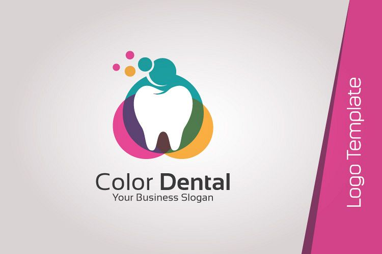 Colorful dental logo design template