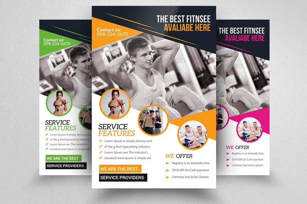 Body Fitness Gym Flyer Template by Desi Design Bundles