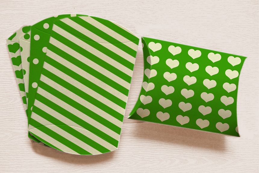 Green Printable Pillow Boxes with Stripes Polka Dots, and Hearts