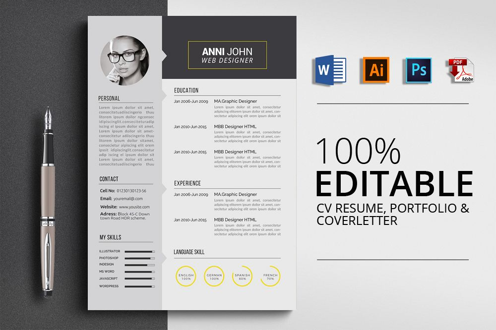 Creative Design CV Resume Word