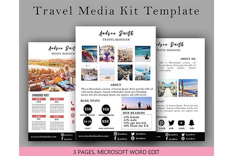 Travel Media Kit Template 3 Page, Media Press Kit Template