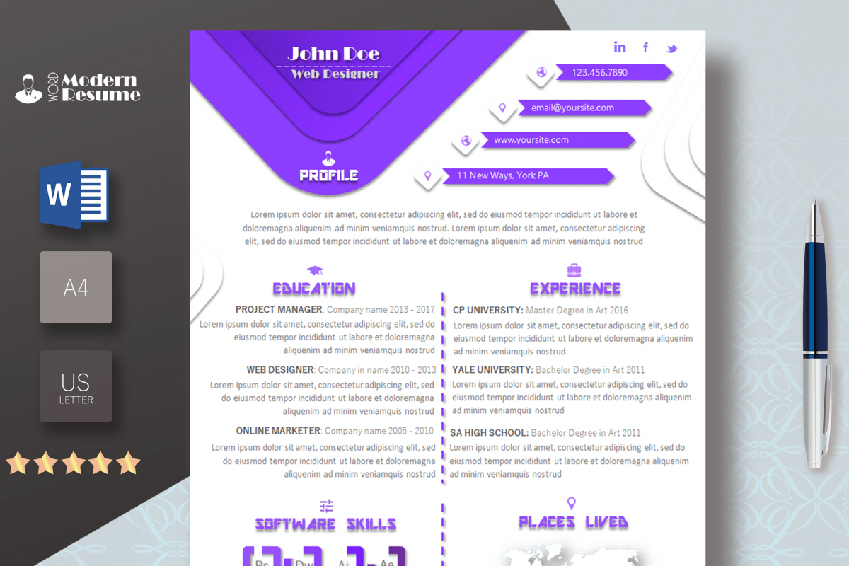 one page cv ms word