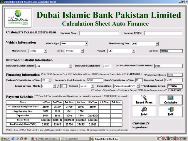 Dubai Islamic Bank Car Financing in Karachi - Cars - PakWheels Forums - auto loan calculator