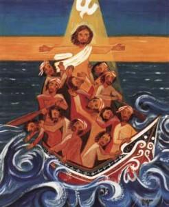 jesus on a boat