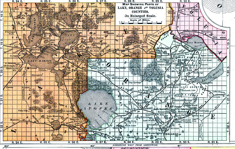 Map Showing Parts of Lake, Orange and Volusia Counties, 1898 AD