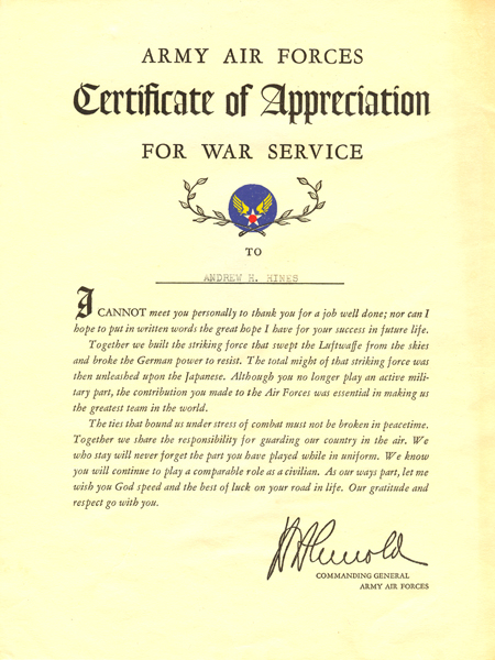 Army Air Forces Certificate of Appreciation for War Service