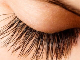 Woman eye with extremely long eyelashes and natural makeup