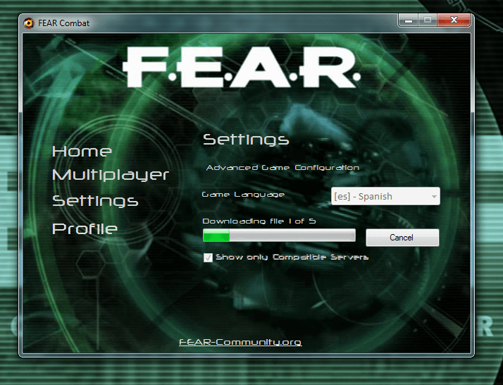 FEAR Launcher installing language files.