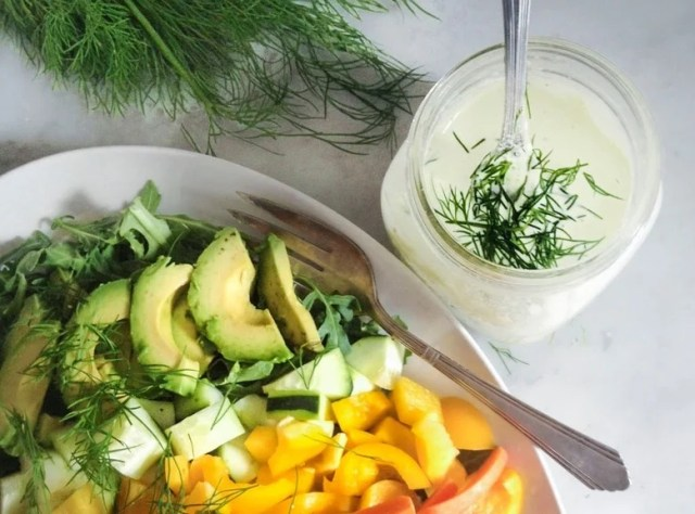 Simple,tasty Rainbow Salad with Creamy Dill Dressing, loaded up with fresh grated beets, radishes, carrots, cucumber & whatever seasonal veggies you like. | www/feastingathome.com