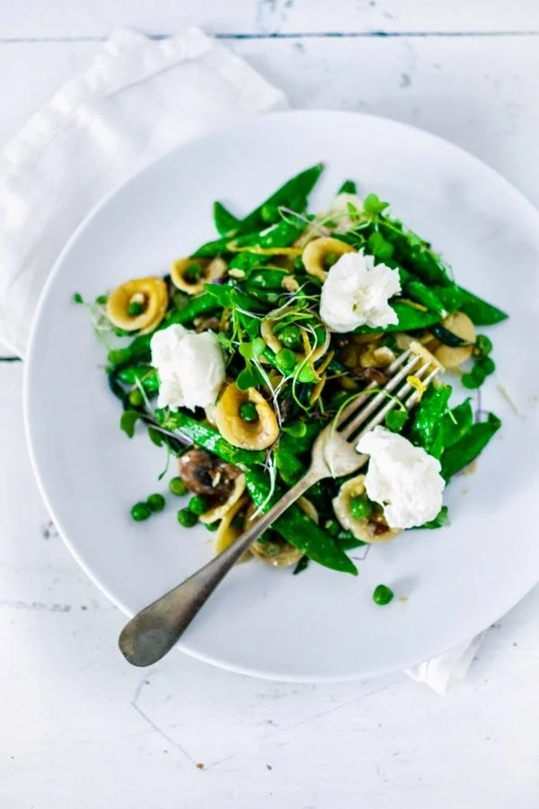 "Spring Pasta Carbonara with Fresh Peas, Asparagus and Burrata with Orchetti - aka, ""little ear"" pasta) in a light carbonara sauce. 