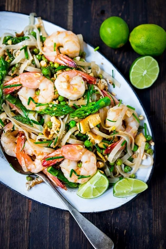Spring Vegetable Pad Thai- an authentic recipe with step by step instructions. Flavorful and delicious! | www.feastingathome.com
