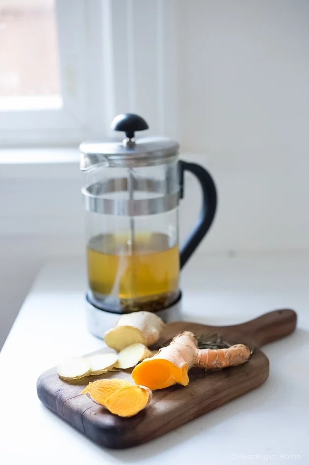 Ayurvedic Detox Tea- a daily drink with fresh turmeric, ginger and whole spices   www.feastingathome.com