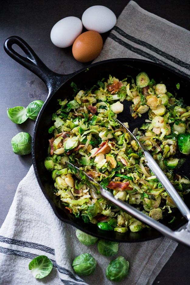 Brussel Sprout Hash with Soft Poached Egg and Aleppo Chili Pepper | www.feastingathome.com