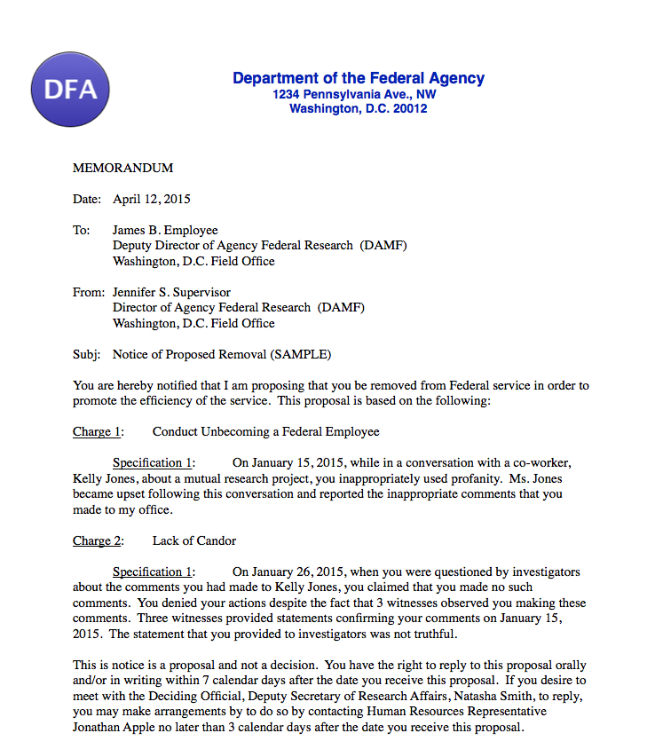Responding to Proposed Discipline for Federal Employees Federal - disciplinary memo template