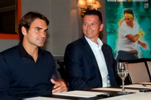 Federer with Richard Krajicek, tournament director