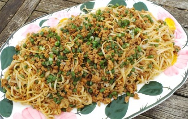 Fried Noodles w/Green beans and minced chicken